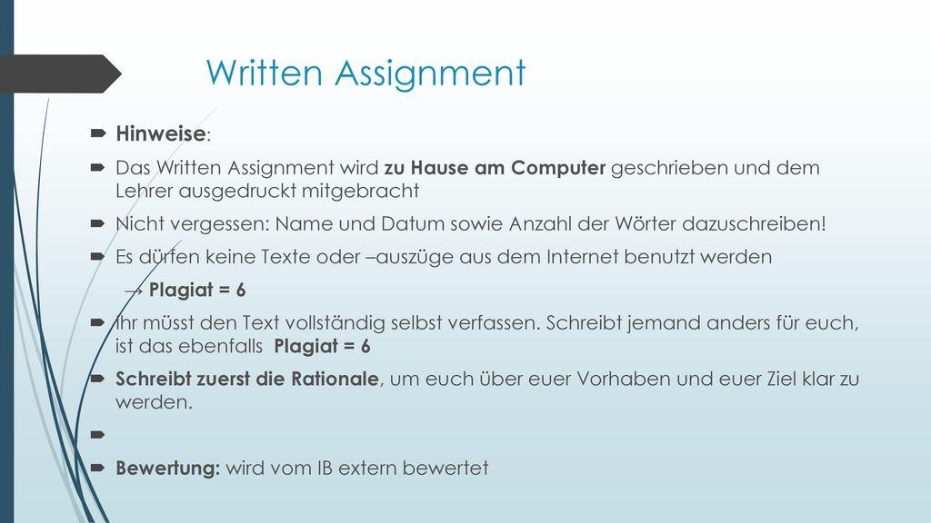 Written Assignment Hinweise: