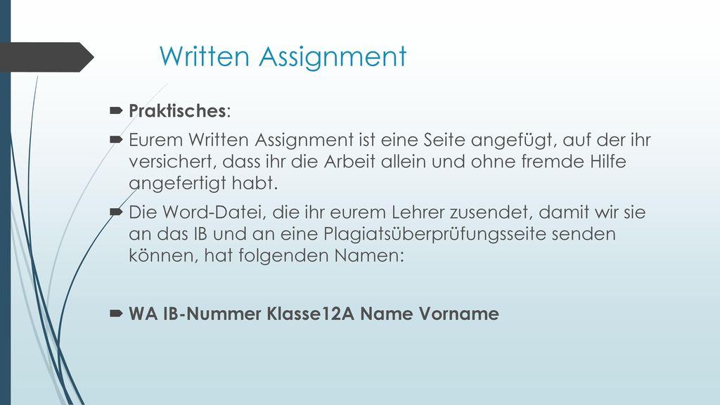 Written Assignment Praktisches: