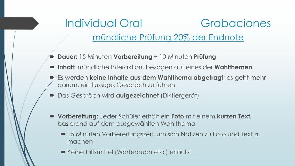 Individual Oral Grabaciones mündliche Prüfung 20% der Endnote