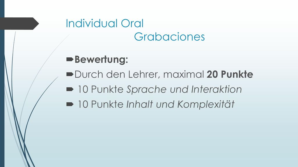 Individual Oral Grabaciones