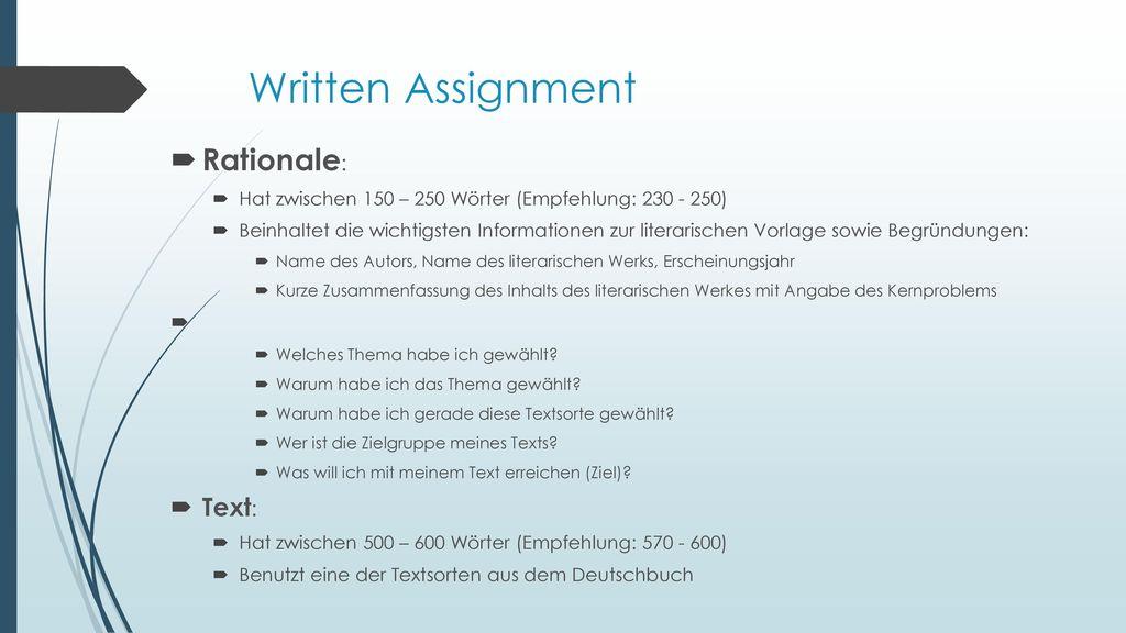Written Assignment Rationale: Text: