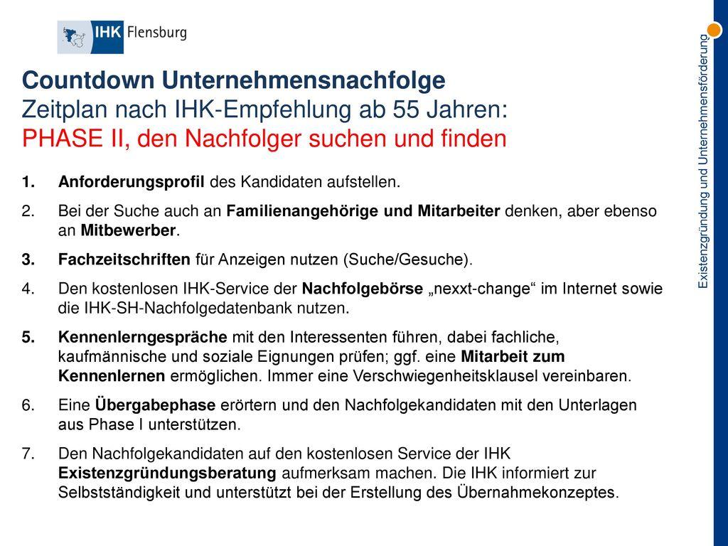 Countdown Unternehmensnachfolge Zeitplan nach IHK-Empfehlung ab 55 Jahren: PHASE II, den Nachfolger suchen und finden