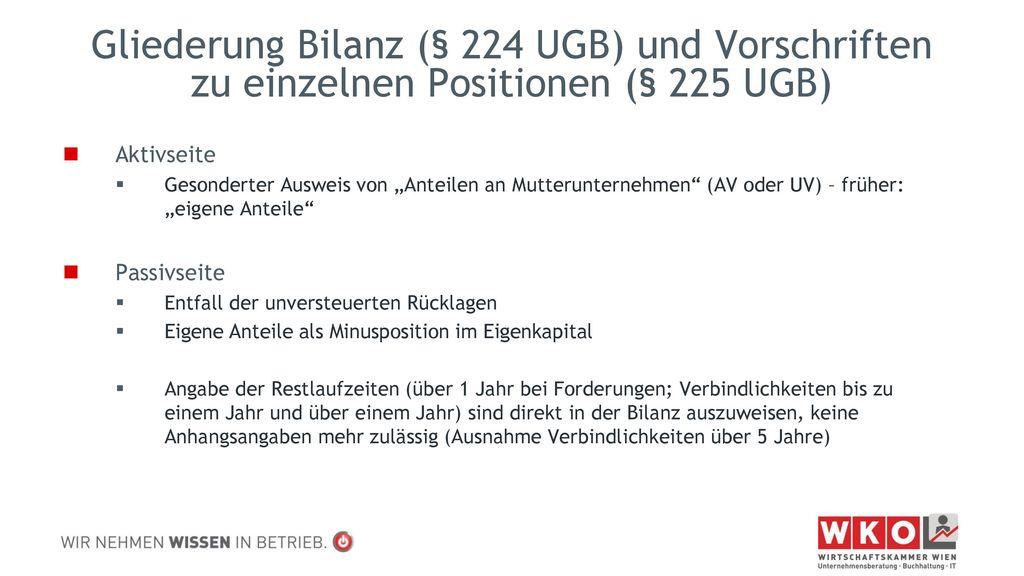 Gliederung Bilanz (§ 224 UGB) und Vorschriften zu einzelnen Positionen (§ 225 UGB)