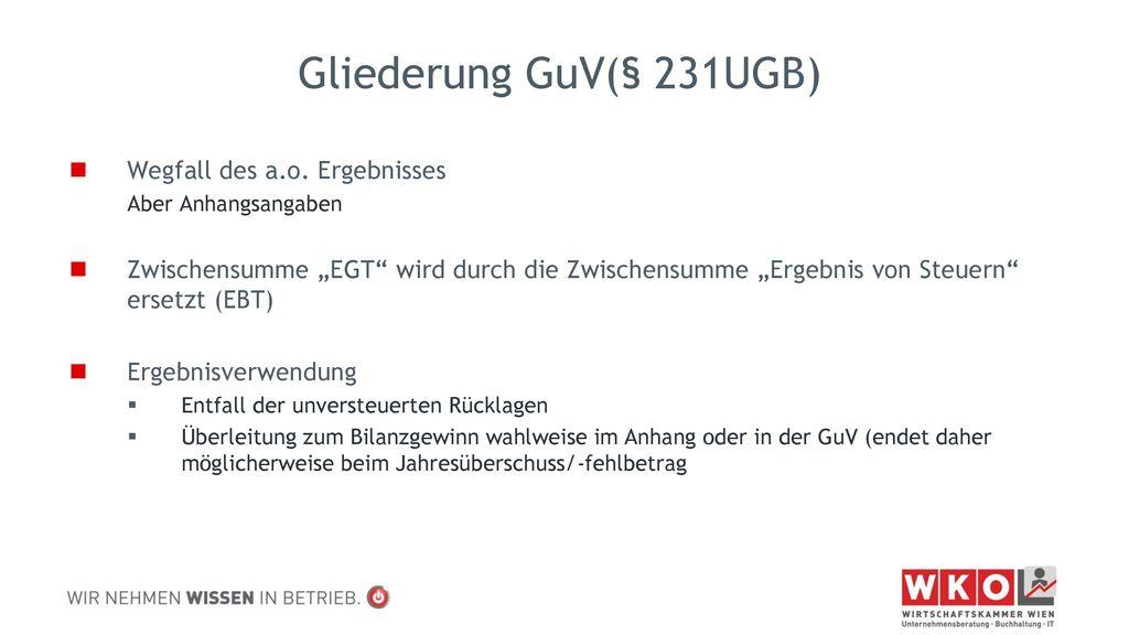 Gliederung GuV(§ 231UGB) Wegfall des a.o. Ergebnisses