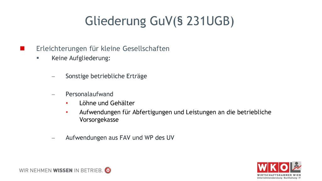 Gliederung GuV(§ 231UGB) Erleichterungen für kleine Gesellschaften