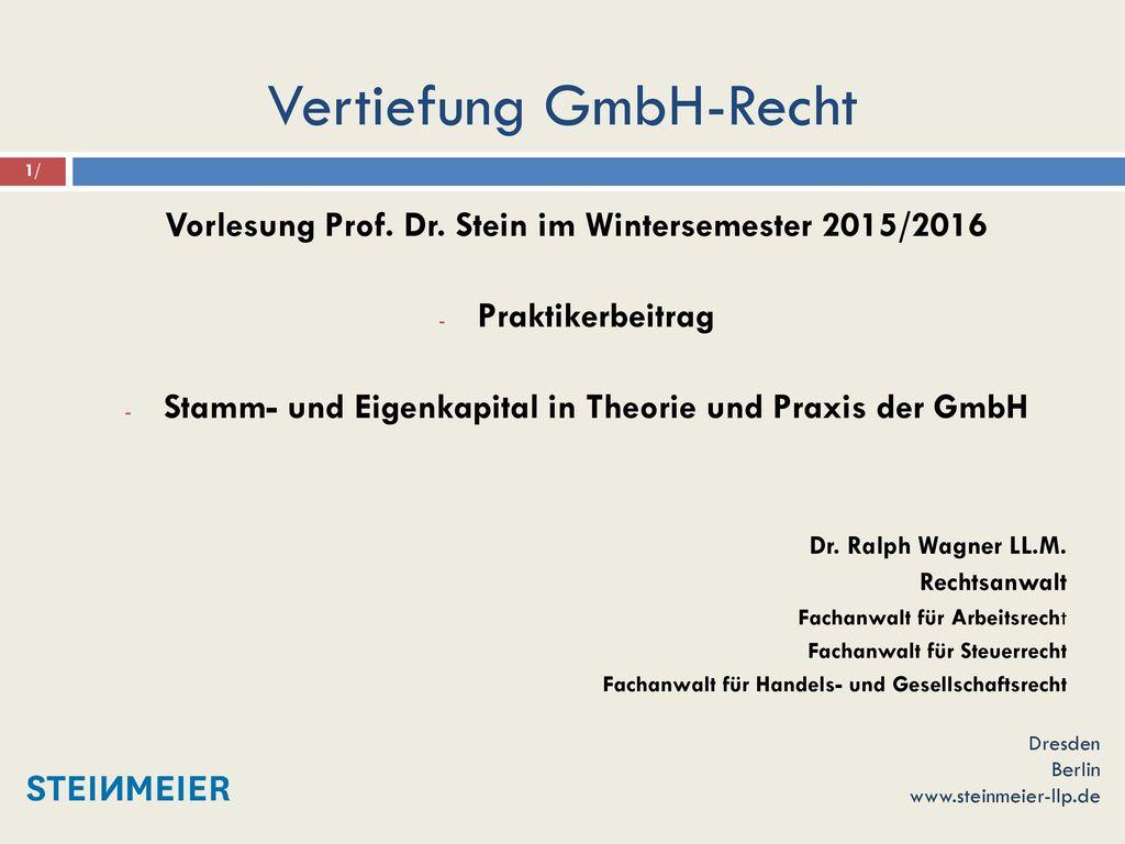 Vertiefung GmbH-Recht