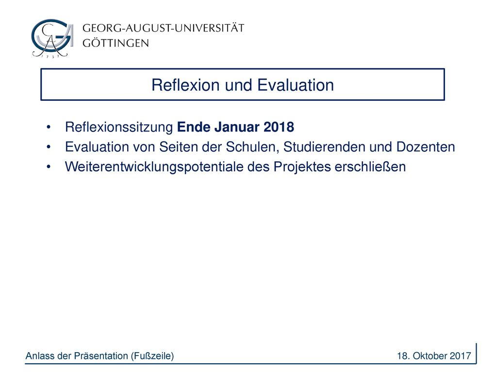 Reflexion und Evaluation