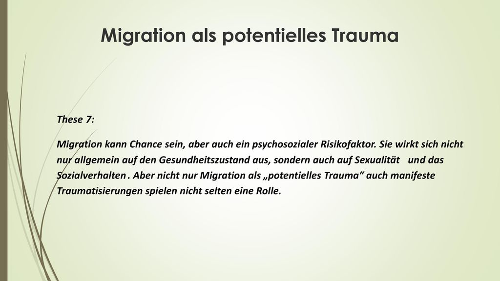 Migration als potentielles Trauma