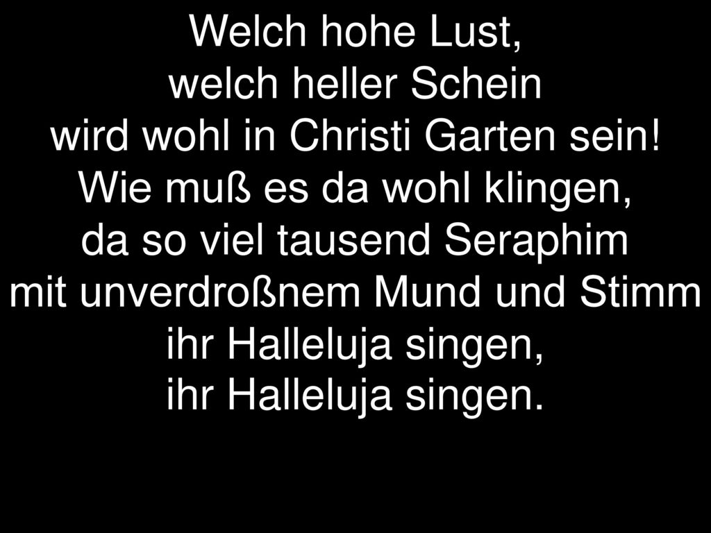 Welch hohe Lust,