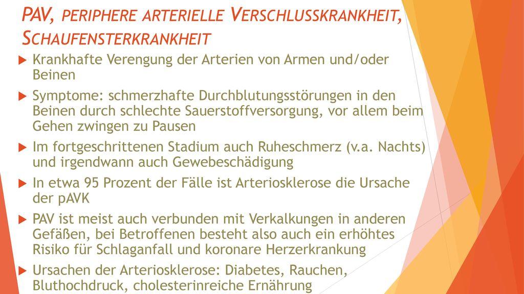 PAV, periphere arterielle Verschlusskrankheit, Schaufensterkrankheit