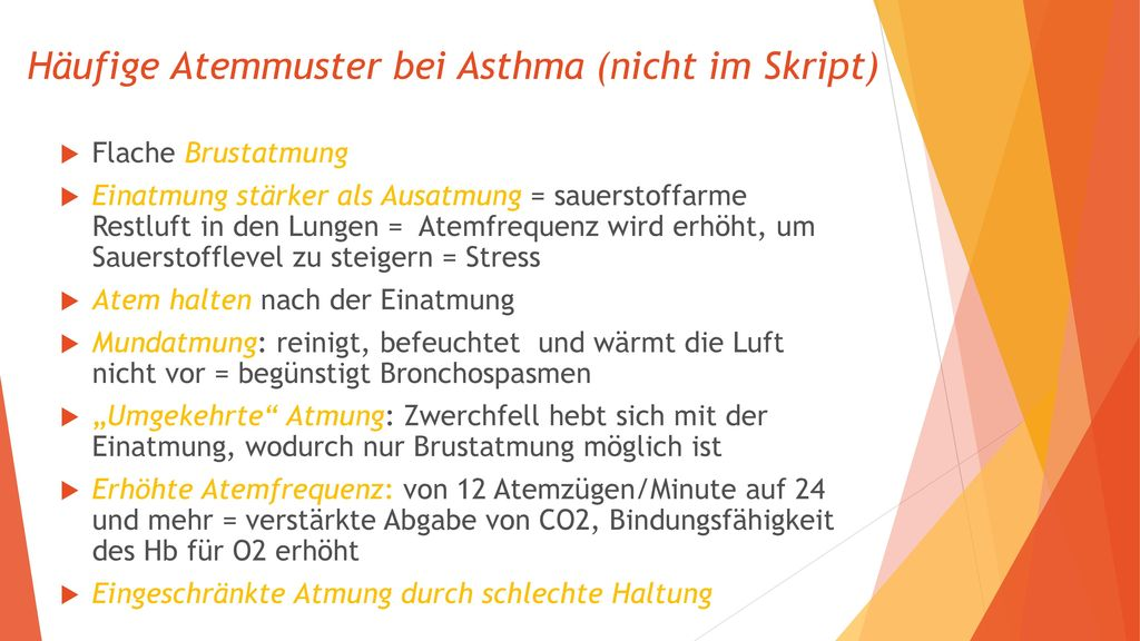 Häufige Atemmuster bei Asthma (nicht im Skript)