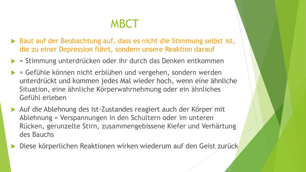 MBCT Baut auf der Beobachtung auf, dass es nicht die Stimmung selbst ist, die zu einer Depression führt, sondern unsere Reaktion darauf.