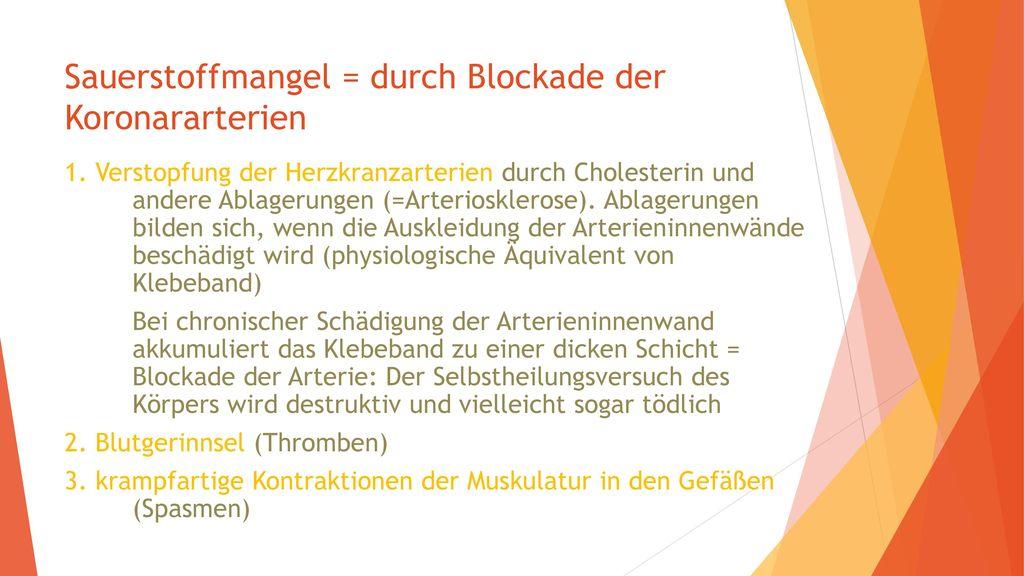 Sauerstoffmangel = durch Blockade der Koronararterien