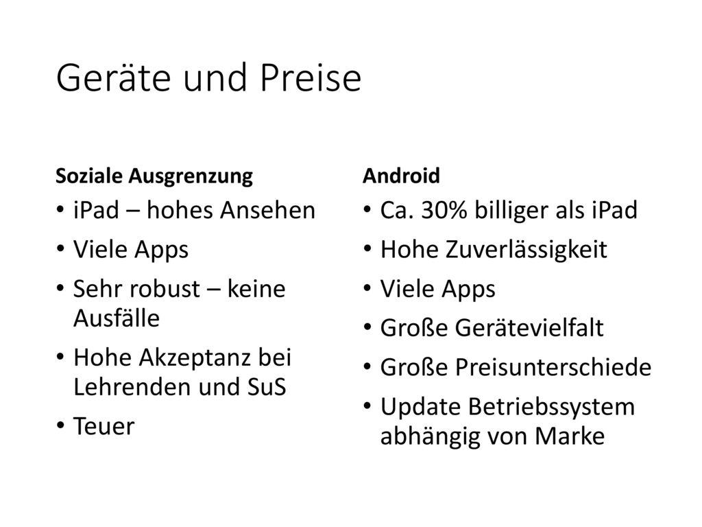 Geräte und Preise iPad – hohes Ansehen Viele Apps