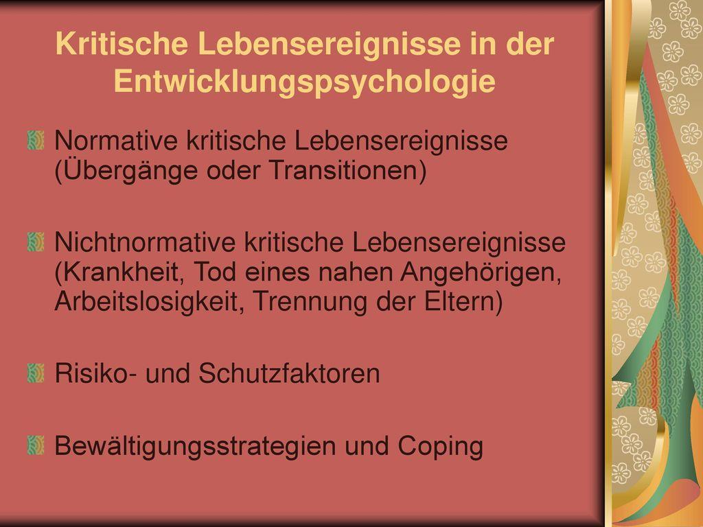 Kritische Lebensereignisse in der Entwicklungspsychologie