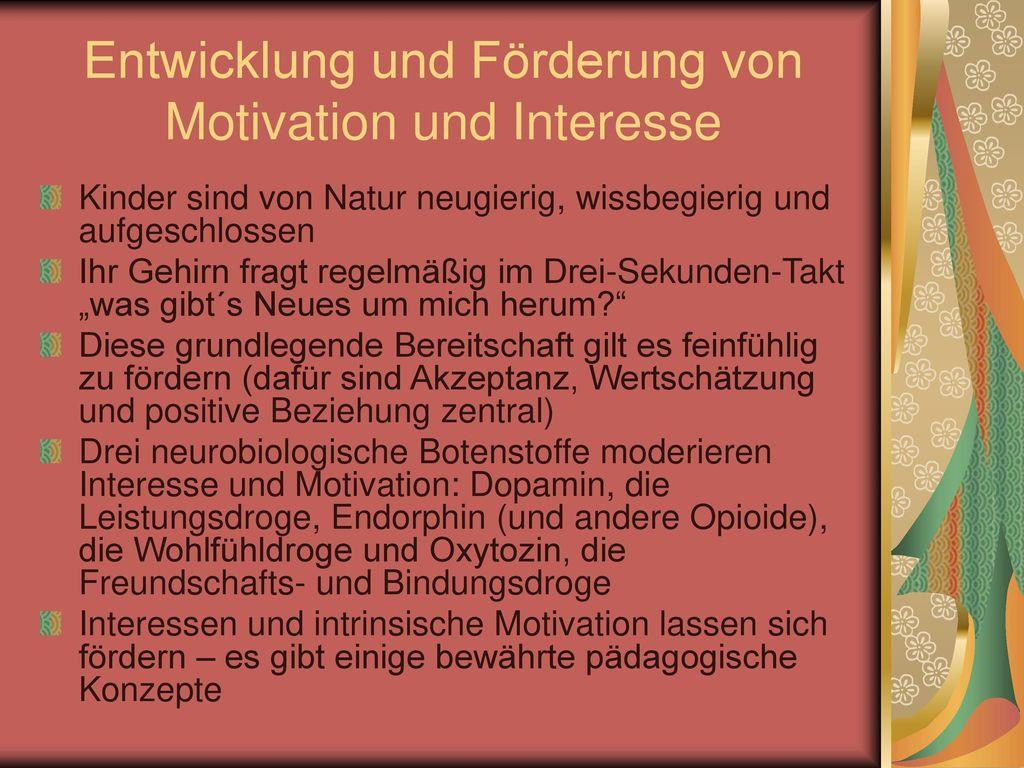 Entwicklung und Förderung von Motivation und Interesse