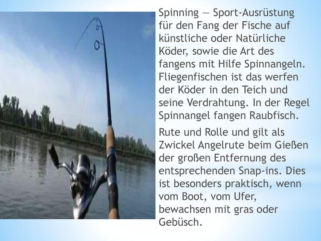 Spinning — Sport-Ausrüstung für den Fang der Fische auf künstliche oder Natürliche Köder, sowie die Art des fangens mit Hilfe Spinnangeln.