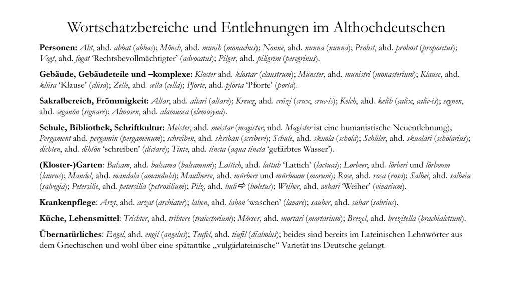 Wortschatzbereiche und Entlehnungen im Althochdeutschen