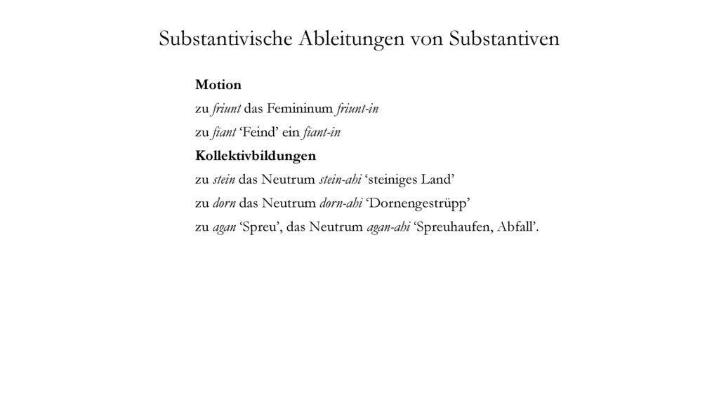Substantivische Ableitungen von Substantiven