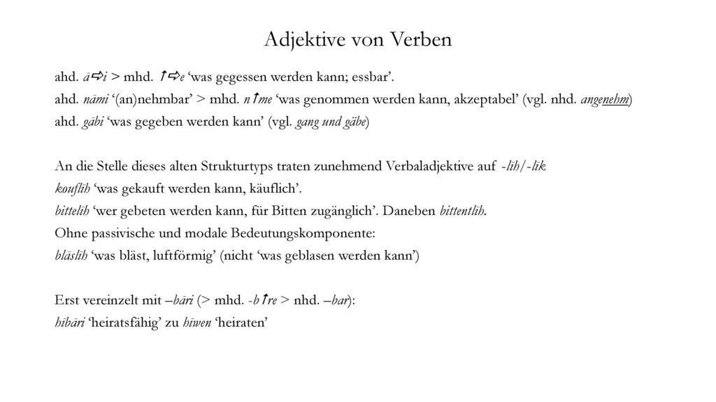 Adjektive von Verben