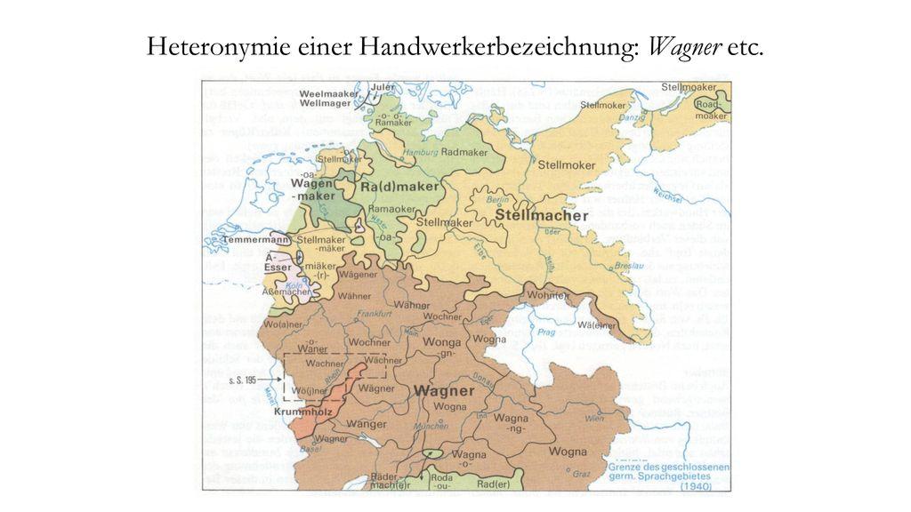 Heteronymie einer Handwerkerbezeichnung: Wagner etc.
