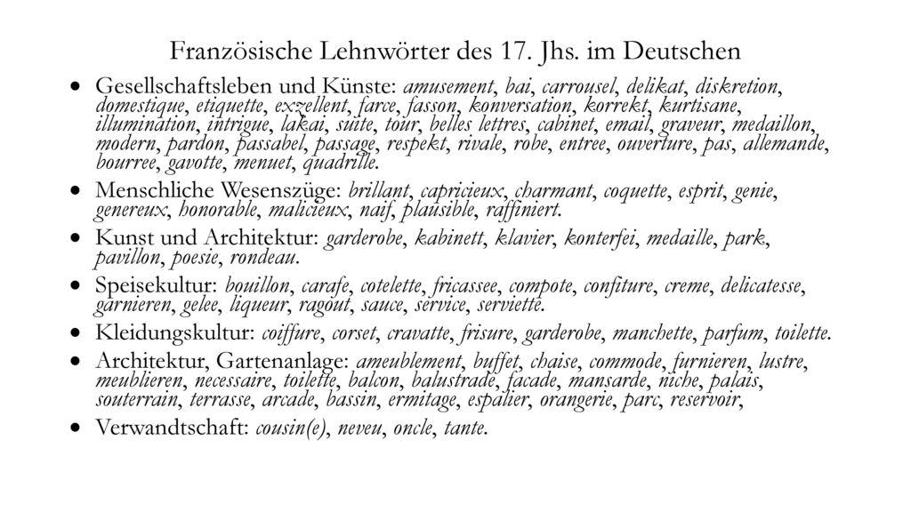 Französische Lehnwörter des 17. Jhs. im Deutschen
