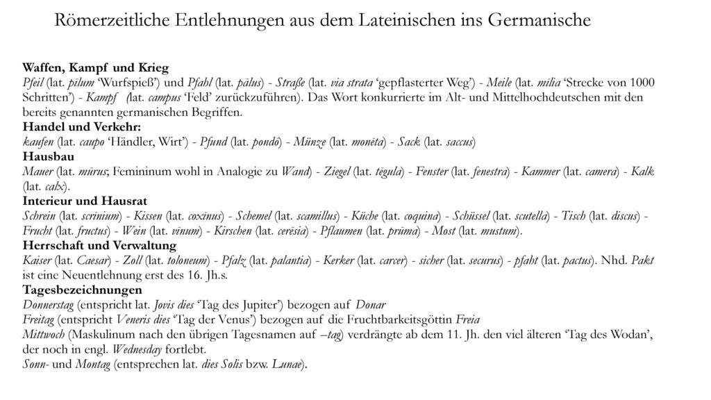 Römerzeitliche Entlehnungen aus dem Lateinischen ins Germanische