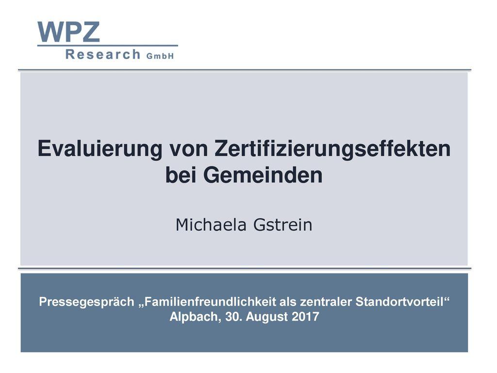 Evaluierung von Zertifizierungseffekten bei Gemeinden Michaela Gstrein