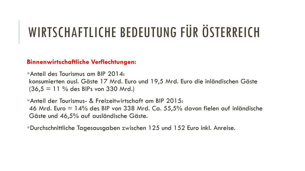 Wirtschaftliche Bedeutung für Österreich
