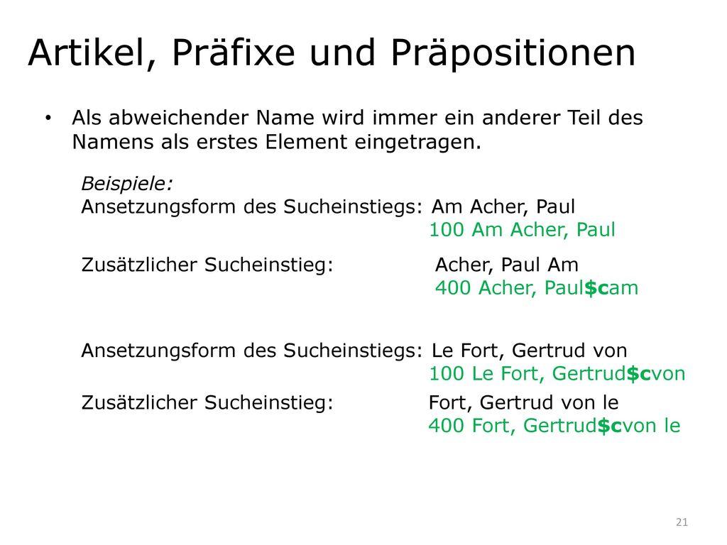 Artikel, Präfixe und Präpositionen
