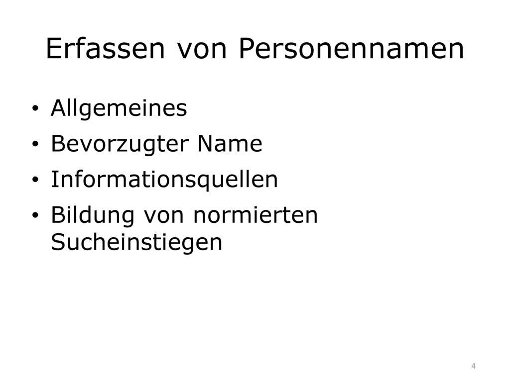 Erfassen von Personennamen