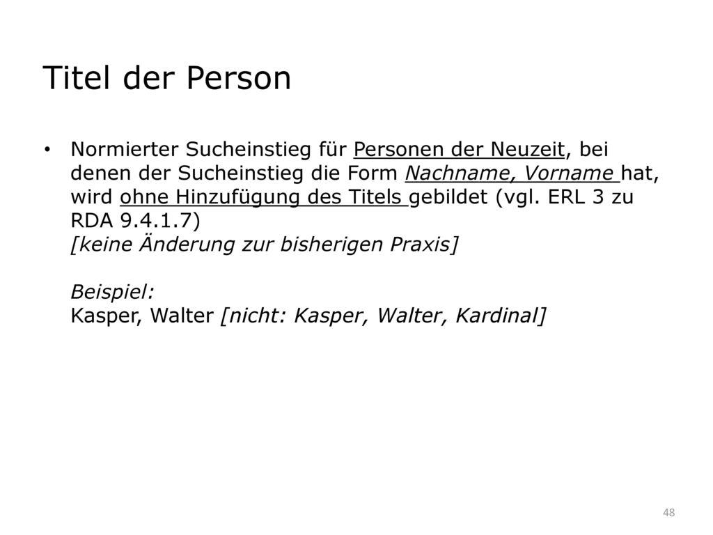 Titel der Person