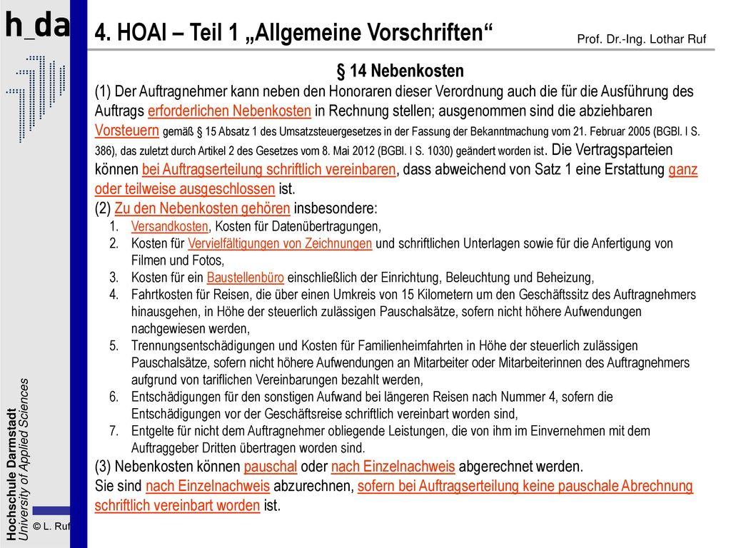 """4. HOAI – Teil 1 """"Allgemeine Vorschriften"""