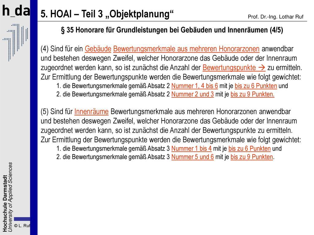 § 35 Honorare für Grundleistungen bei Gebäuden und Innenräumen (4/5)