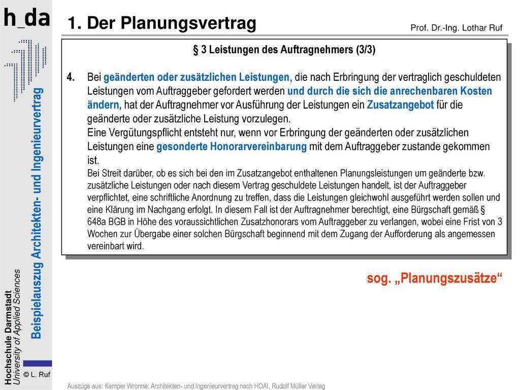 """1. Der Planungsvertrag sog. """"Planungszusätze"""