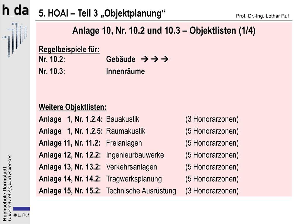 Anlage 10, Nr. 10.2 und 10.3 – Objektlisten (1/4)
