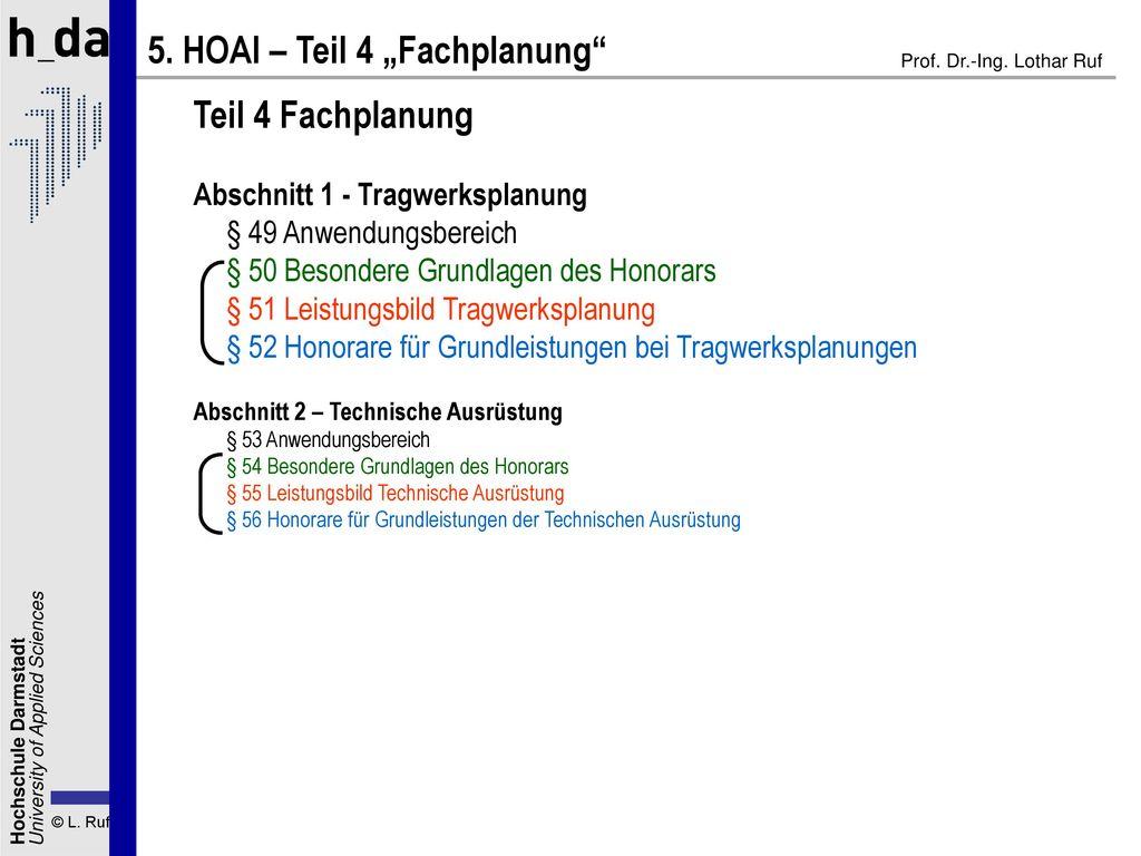 """5. HOAI – Teil 4 """"Fachplanung"""