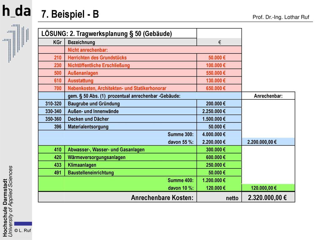 7. Beispiel - B LÖSUNG: 2. Tragwerksplanung § 50 (Gebäude)