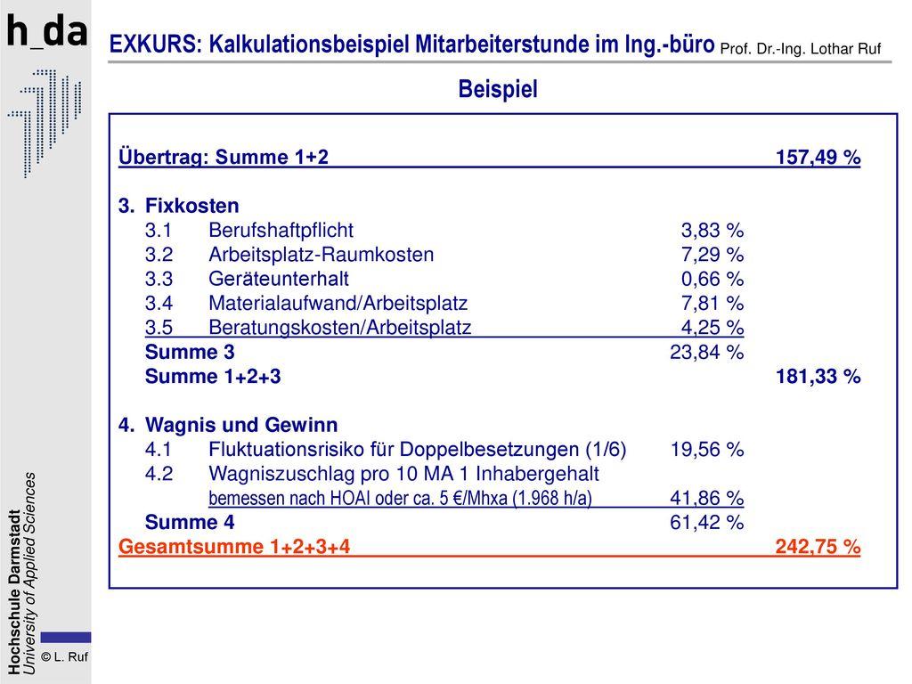 EXKURS: Kalkulationsbeispiel Mitarbeiterstunde im Ing.-büro
