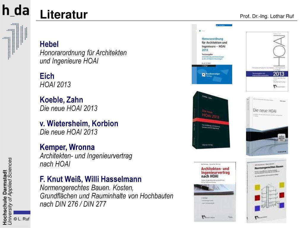 Literatur Hebel Honorarordnung für Architekten und Ingenieure HOAI