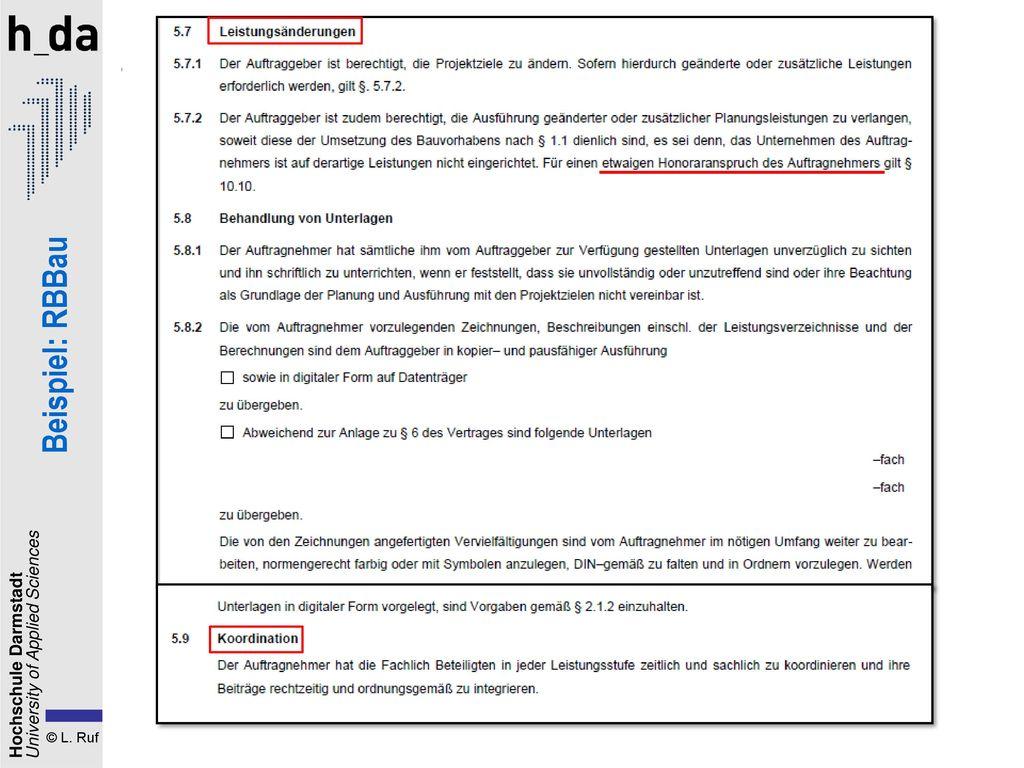 1. Der Planungsvertrag Beispiel: RBBau
