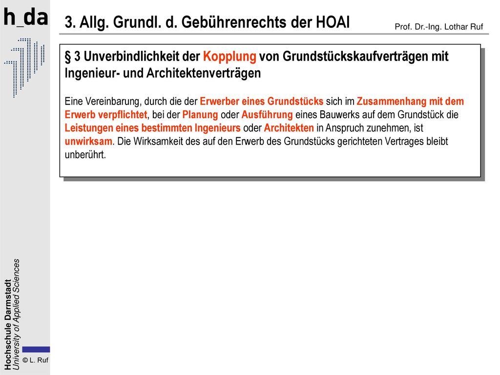 3. Allg. Grundl. d. Gebührenrechts der HOAI