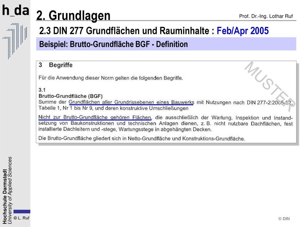 2.3 DIN 277 Grundflächen und Rauminhalte : Feb/Apr 2005