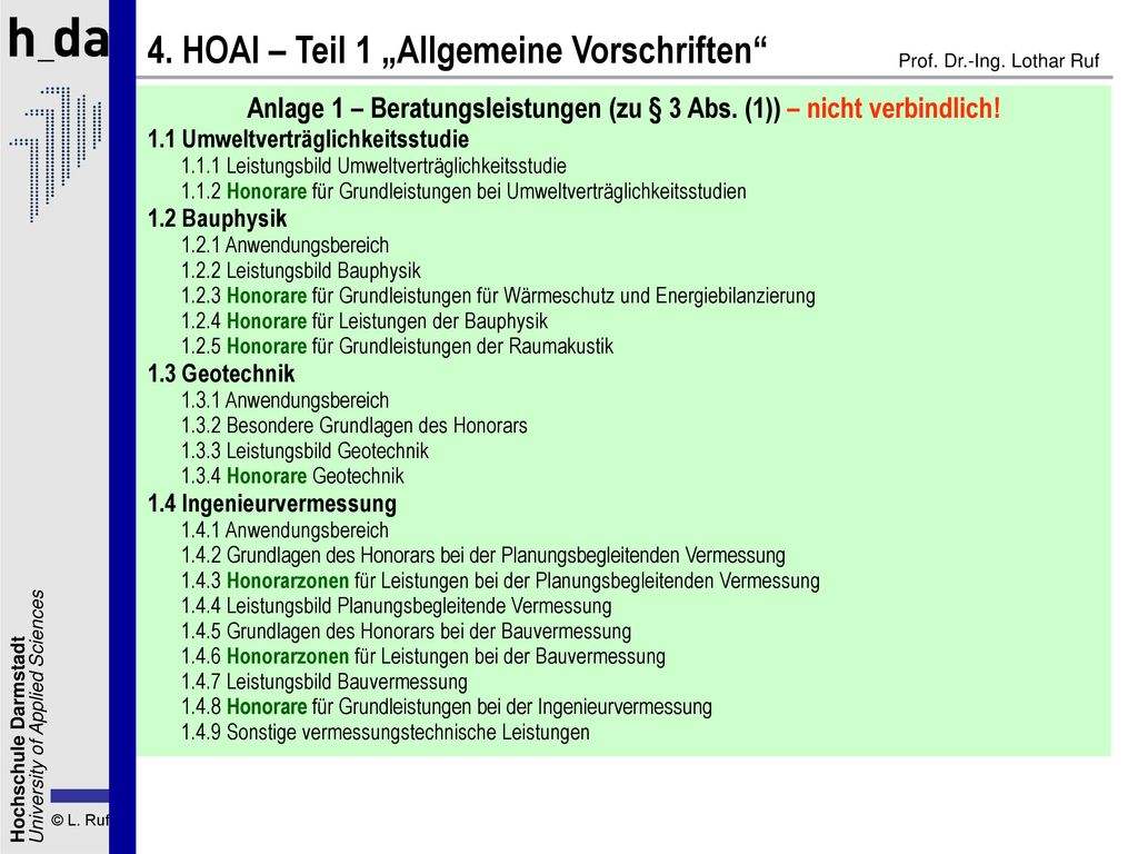 Anlage 1 – Beratungsleistungen (zu § 3 Abs. (1)) – nicht verbindlich!