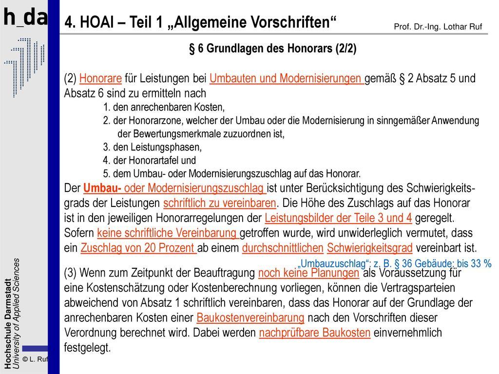 § 6 Grundlagen des Honorars (2/2)