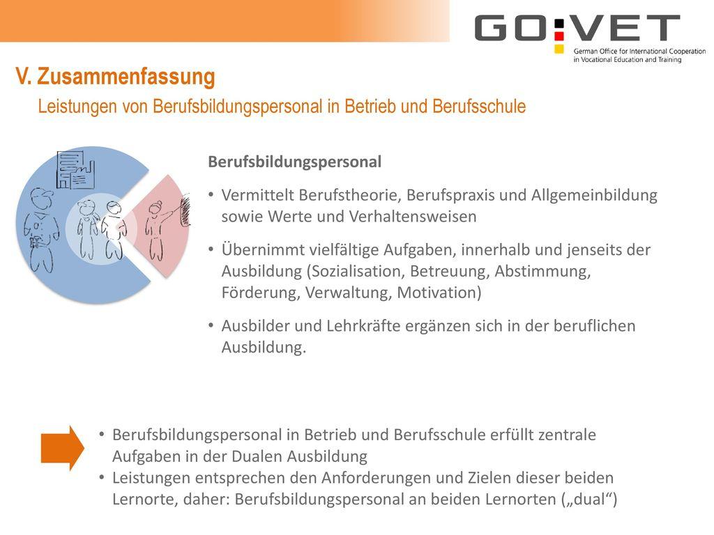V. Zusammenfassung Leistungen von Berufsbildungspersonal in Betrieb und Berufsschule. Berufsbildungspersonal.