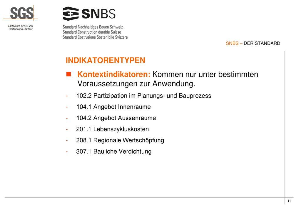 SNBS – DER STANDARD INDIKATORENTYPEN. Kontextindikatoren: Kommen nur unter bestimmten Voraussetzungen zur Anwendung.