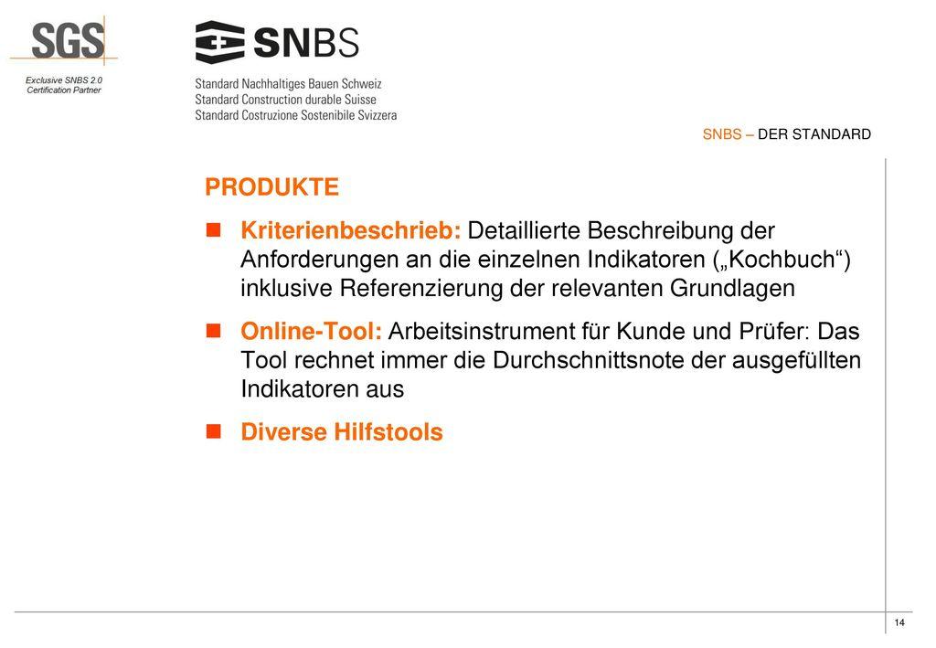 SNBS – DER STANDARD PRODUKTE.