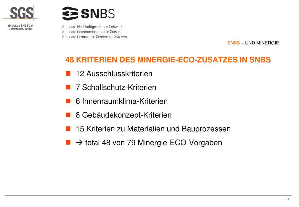 48 KRITERIEN DES MINERGIE-ECO-ZUSATZES IN SNBS 12 Ausschlusskriterien