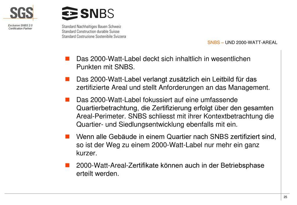 SNBS – UND 2000-WATT-AREAL Das 2000-Watt-Label deckt sich inhaltlich in wesentlichen Punkten mit SNBS.